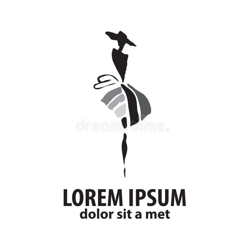 时尚在白色背景隔绝的妇女剪影,图形设计编辑可能为您的设计 商标标志 库存例证