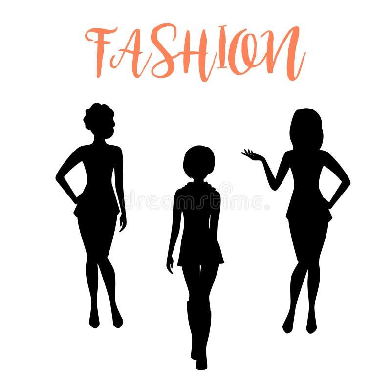 时尚在紧的礼服的妇女剪影 向量例证