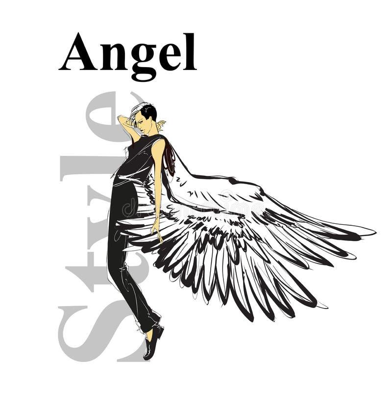 时尚天使神色 有翼的美丽的年轻女人在一套黑衣服 手拉的时尚女孩 E ?? 库存例证