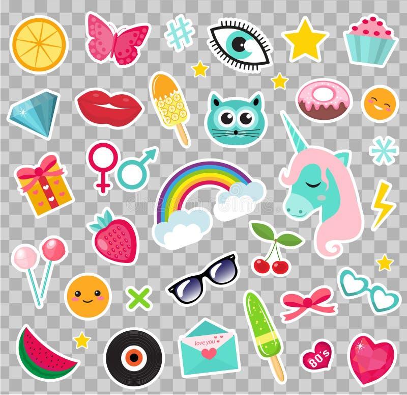 时尚套补丁80s可笑的样式 别针、徽章和贴纸汇集动画片流行艺术与独角兽,彩虹 向量例证