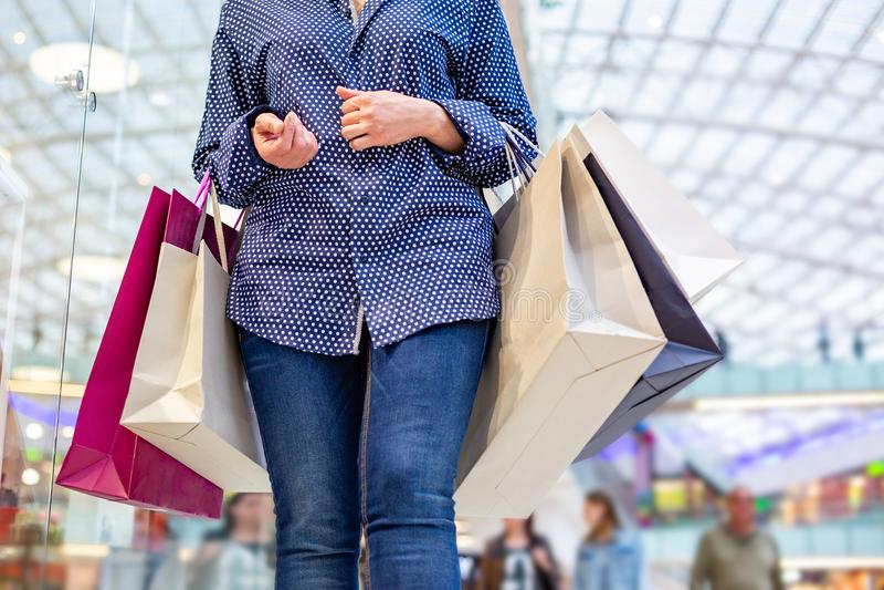 时尚女售货员画象 有购物袋的秀丽妇女在商城 顾客 销售额 免版税库存图片