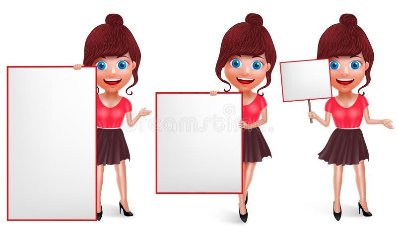 时尚女孩传染媒介字符集 有时髦成套装备的年轻女人 向量例证