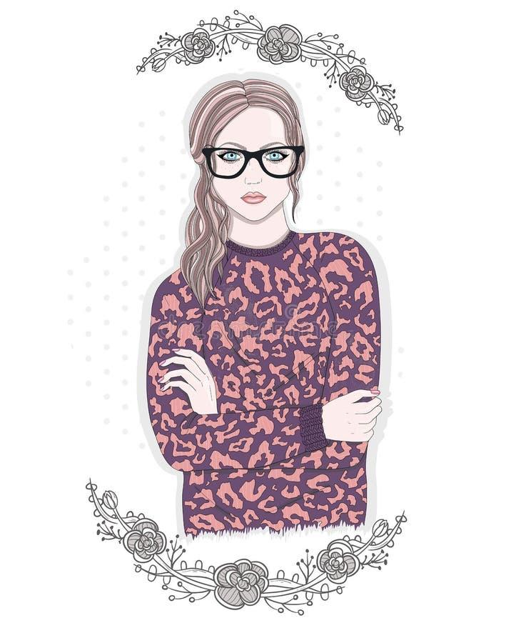 年轻时尚女孩例证 戴眼镜的行家女孩 向量例证