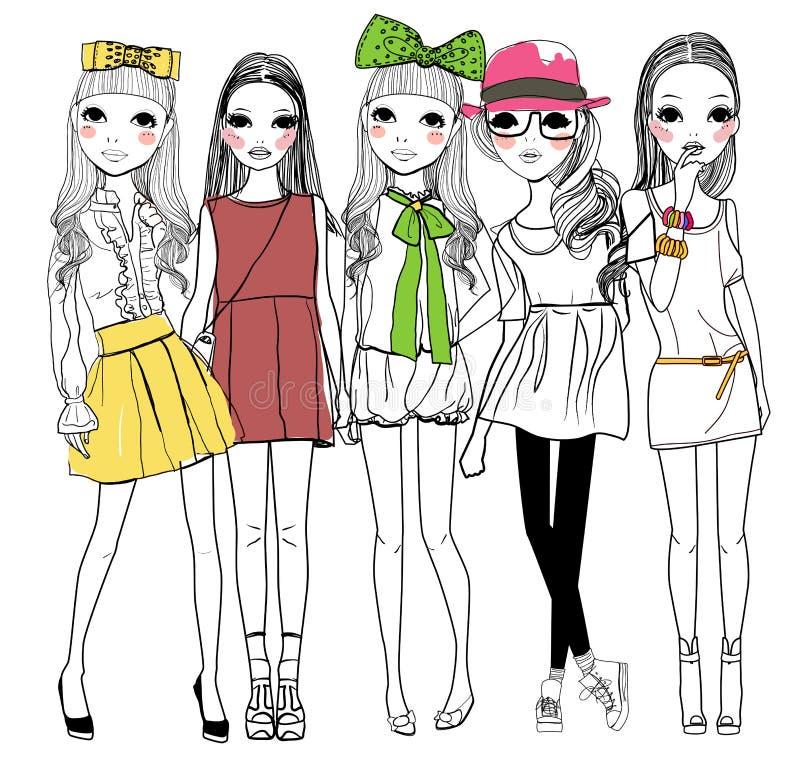 时尚女孩 向量例证
