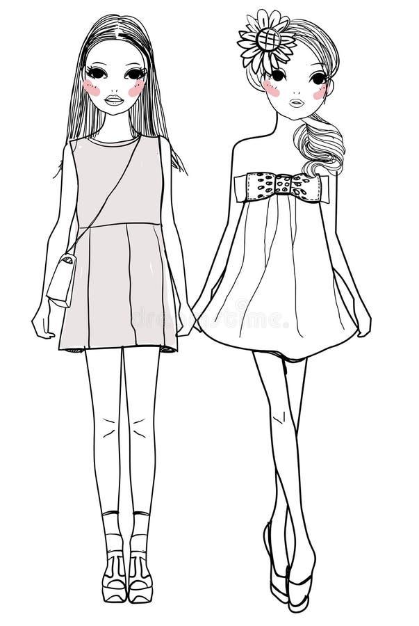 时尚女孩 库存例证