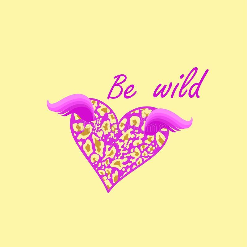 时尚女孩T恤杉印刷品与是狂放的字法和淡紫色飞行的心形与豹子印刷品和翼在沙子色backg 皇族释放例证