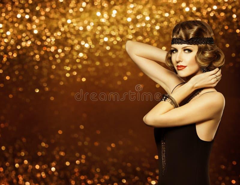 时尚妇女减速火箭的发型构成,夫人发型模型女孩 免版税库存照片
