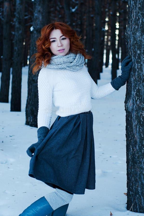 年轻时尚妇女在冬天森林里 免版税库存照片