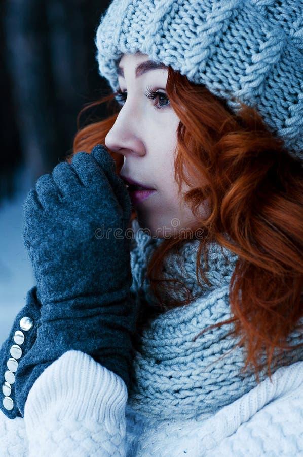 年轻时尚妇女在冬天森林里 库存照片