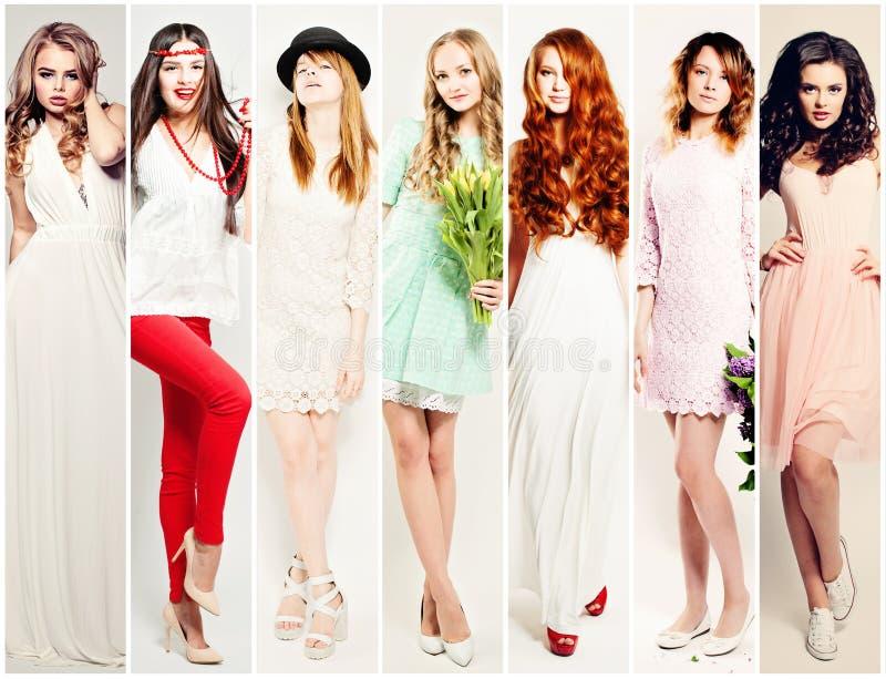 时尚妇女拼贴画 美好的时装模特儿 免版税库存图片