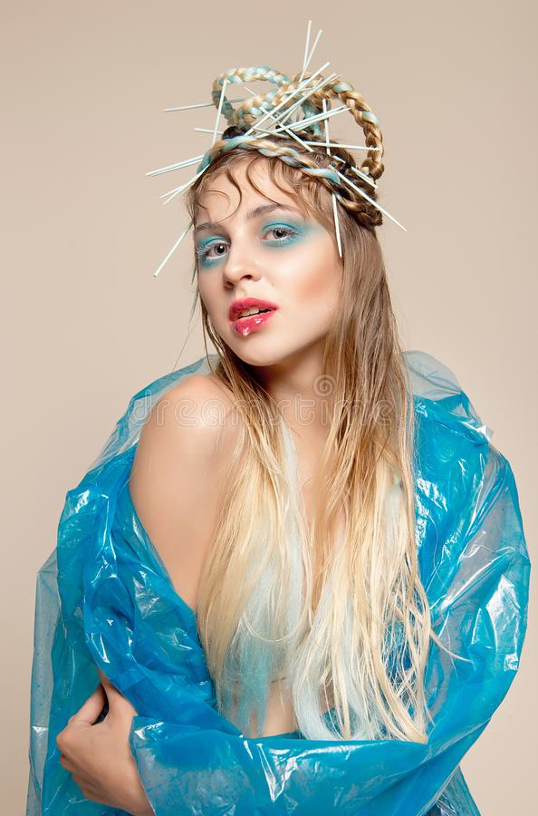 时尚妇女的创造性的图象有抽象构成的 免版税库存图片