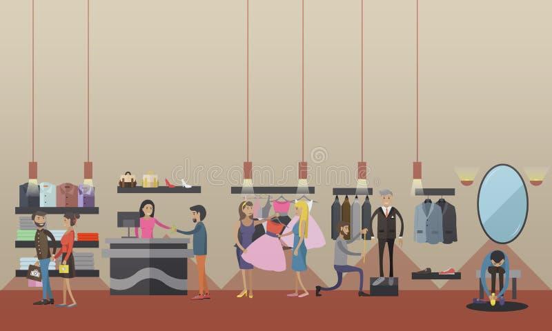 时尚妇女衣裳商店内部 也corel凹道例证向量 设计元素和横幅在平的样式 皇族释放例证