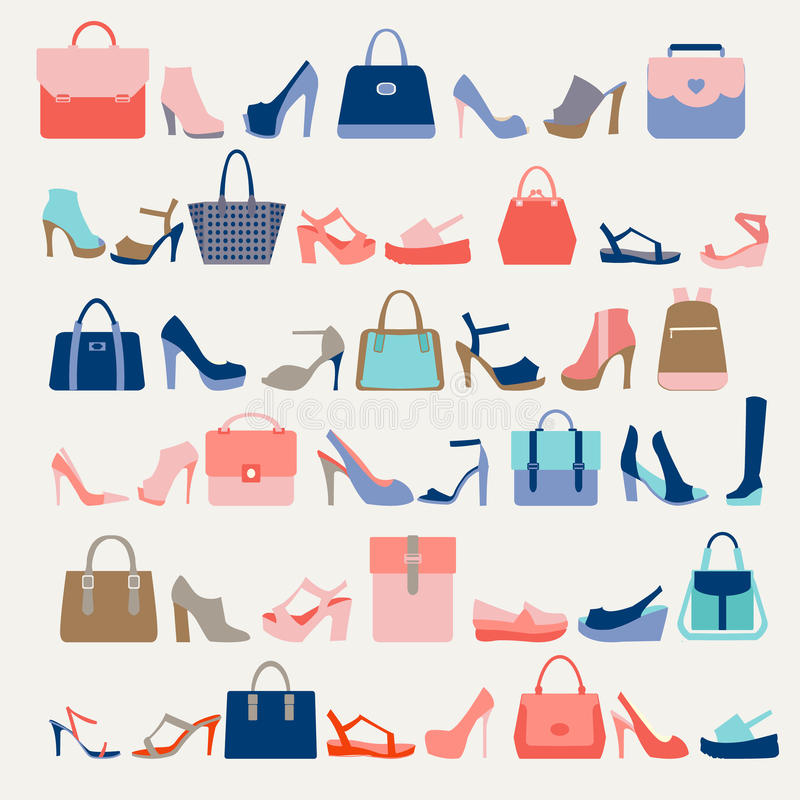 时尚妇女袋子和高跟鞋鞋子的汇集 皇族释放例证
