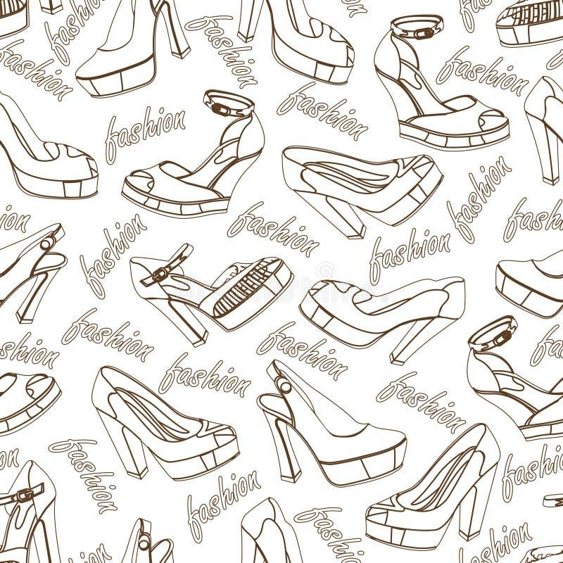 时尚妇女鞋子无缝的样式 分级显示 向量例证