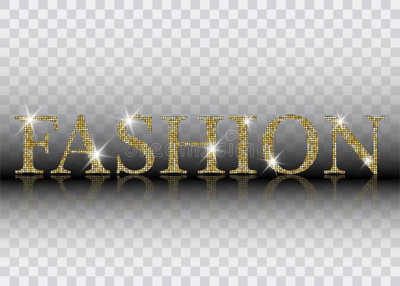 时尚字法 金子发光的时尚闪烁的传染媒介信件 能为印刷品使用:袋子, T恤杉,家庭装饰,海报,卡片 库存例证
