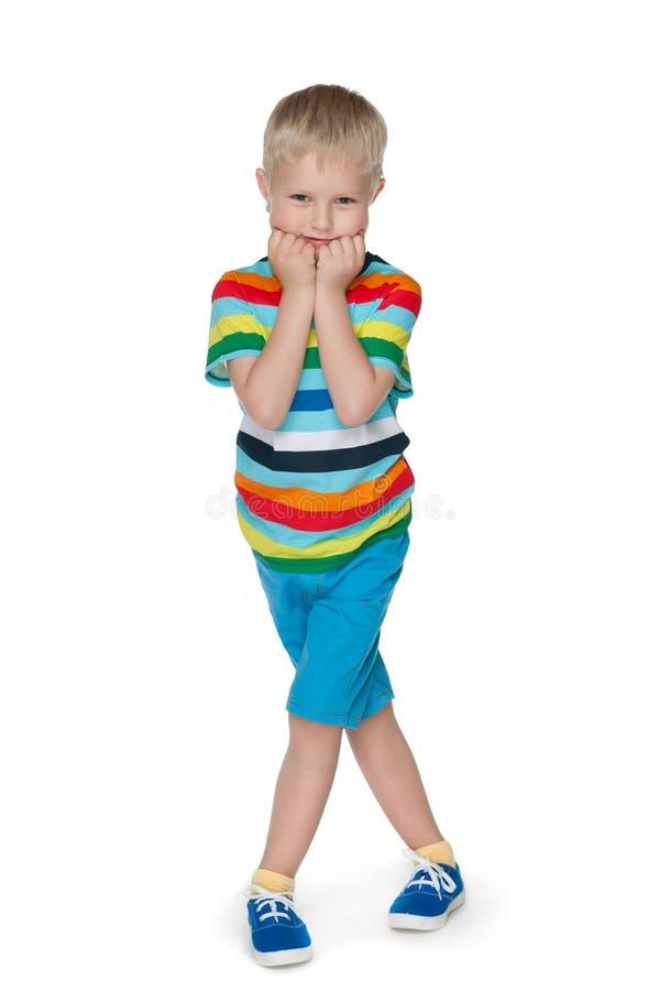 时尚害羞的小男孩 库存图片