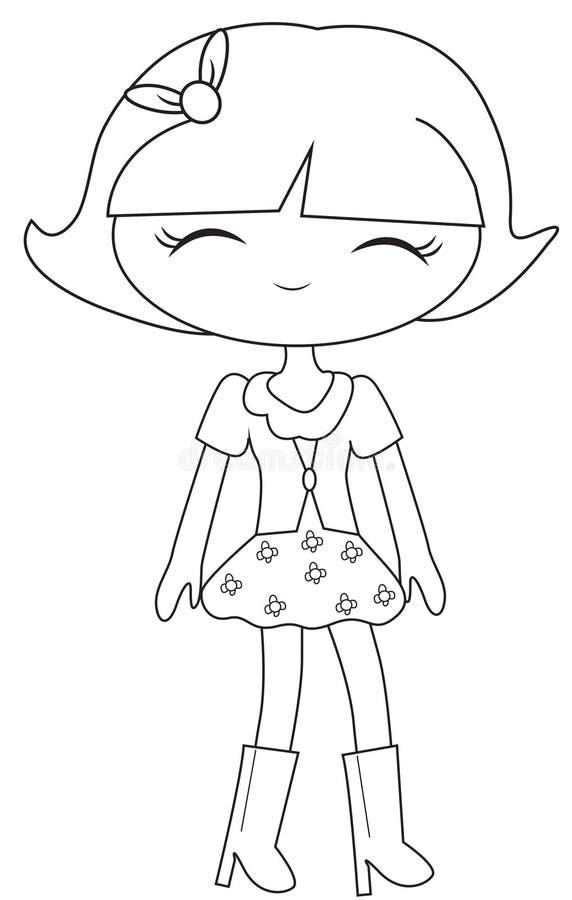 时尚小女孩着色页 向量例证