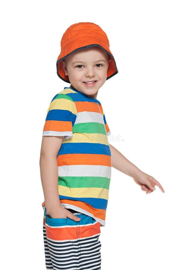 时尚小微笑的男孩 库存图片