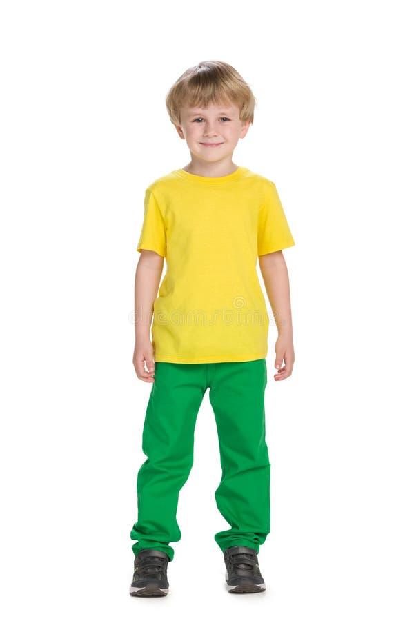 时尚小男孩的画象 免版税库存图片