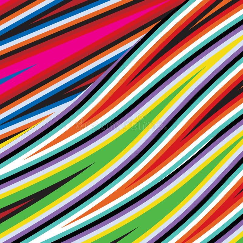时尚抽象彩虹光谱织品五颜六色的扭转的波浪镶边背景样式 向量例证