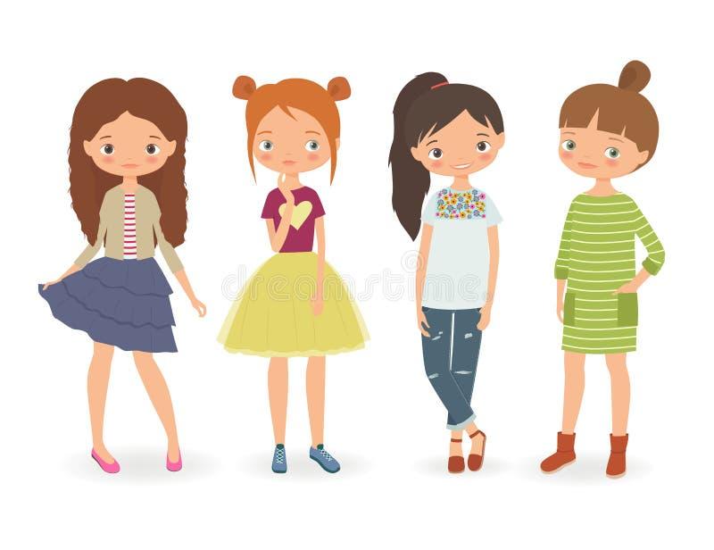 时尚时髦的女孩 库存例证