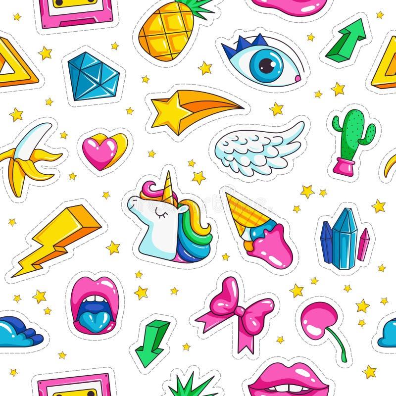时尚独角兽徽章 在可笑的样式的样式与减速火箭的对象彩虹担任主角独角兽眼睛无缝云彩的金刚 库存例证