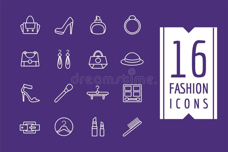 时尚电子商务被设置的传染媒介象 购物 皇族释放例证