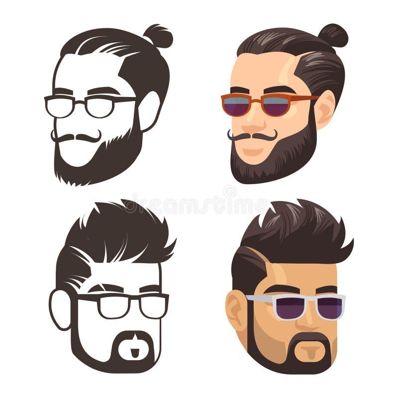 时尚男性haircute和被刮的胡子集合 皇族释放例证