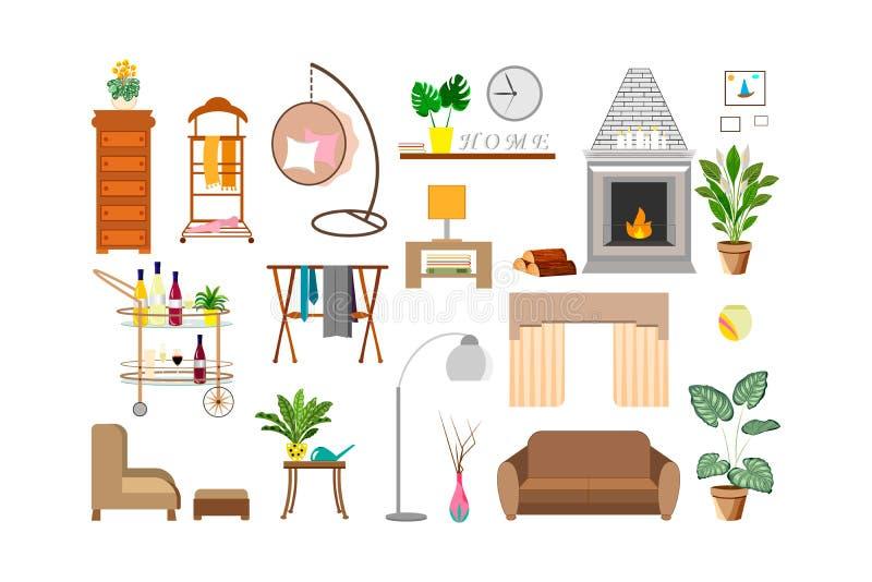 时尚的家居装饰元素与植物和室内设计 库存照片