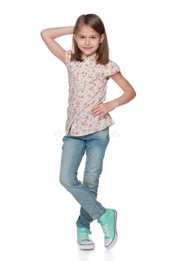 时尚相当小女孩 免版税库存照片