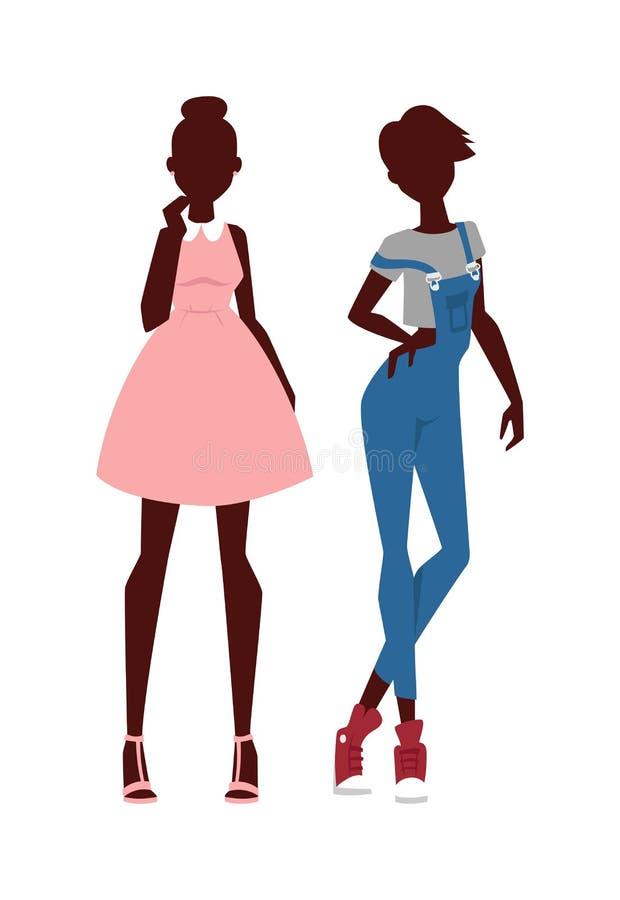 时尚看起来纯净的秀丽两女孩色的剪影平的传染媒介例证 库存例证