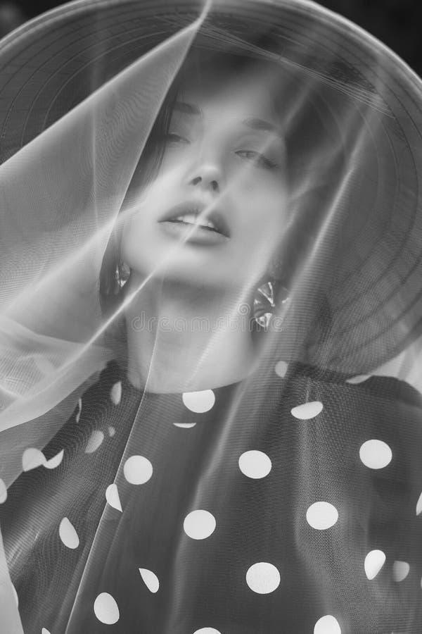时尚礼服的华美的深色的妇女有秸杆中国人帽子的 库存图片