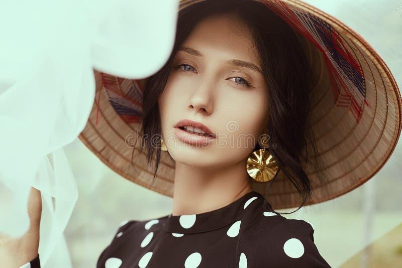 时尚礼服的华美的深色的妇女有秸杆中国人帽子的 库存照片