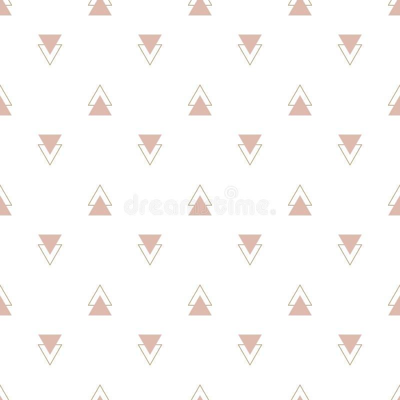 时尚简单的玫瑰色三角几何传染媒介样式 皇族释放例证