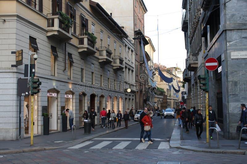 时尚米兰街道的图象在意大利 库存图片
