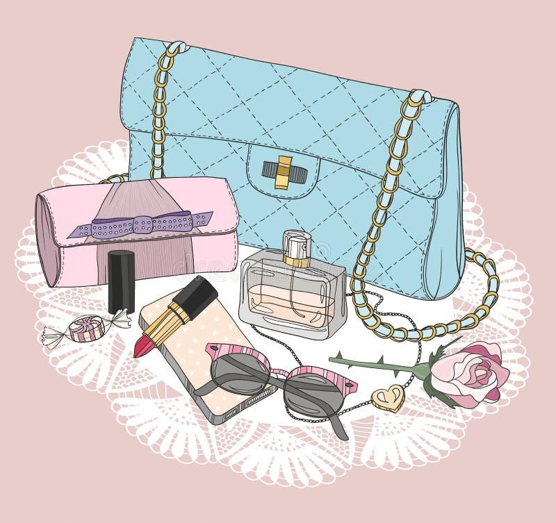 时尚精华 与袋子,太阳镜,鞋子的背景 库存例证