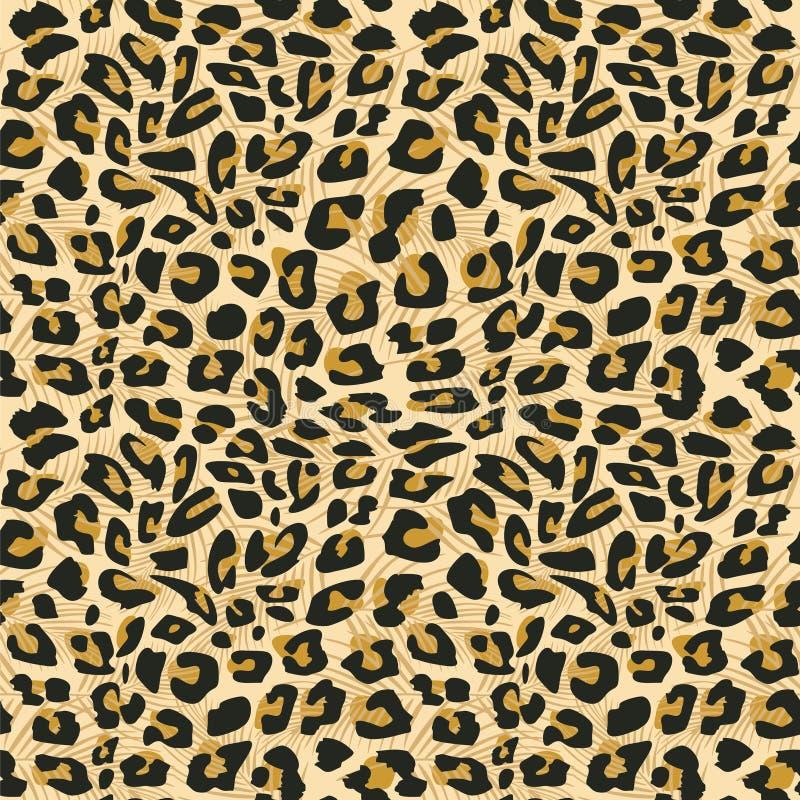 时尚纺织品印刷品和包裹的捷豹汽车皮肤无缝的样式传染媒介例证 向量例证