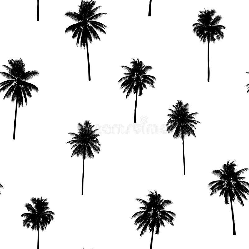 时尚纺织品的,黑植物无缝的椰子树样式 向量例证