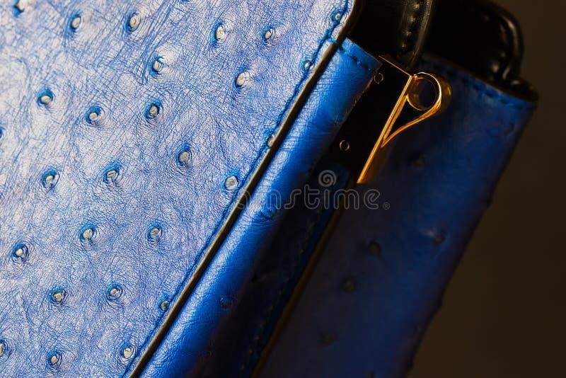 时尚蓝色颜色提包特写镜头纹理从真皮的,被装饰在皮肤驼鸟下,金子detal为皮带 免版税库存图片