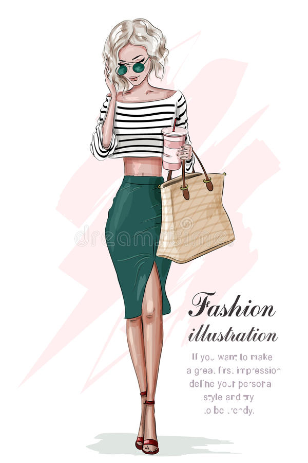 时尚衣裳的时髦的白肤金发的女孩,有袋子和咖啡杯的 手拉的美丽的女孩 方式妇女 草图 向量例证