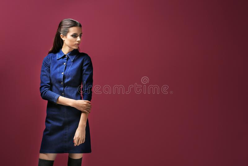 时尚衣裳的美丽的妇女 免版税库存图片