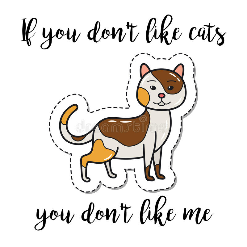 时尚补丁元素逗人喜爱的猫 向量例证