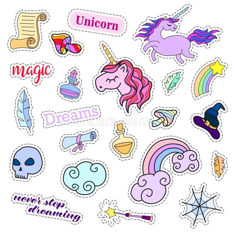 时尚补丁徽章 魔术集合 贴纸、别针、补丁、逗人喜爱的收藏与独角兽和彩虹 80s-90s可笑的样式 向量例证