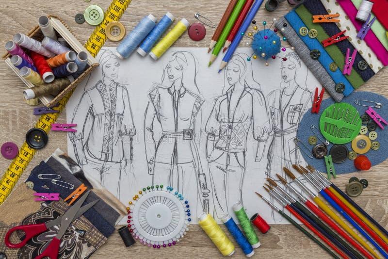 时尚设计剪影-裁缝表 库存图片