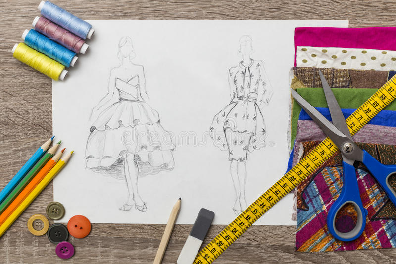 时尚设计剪影 向量例证