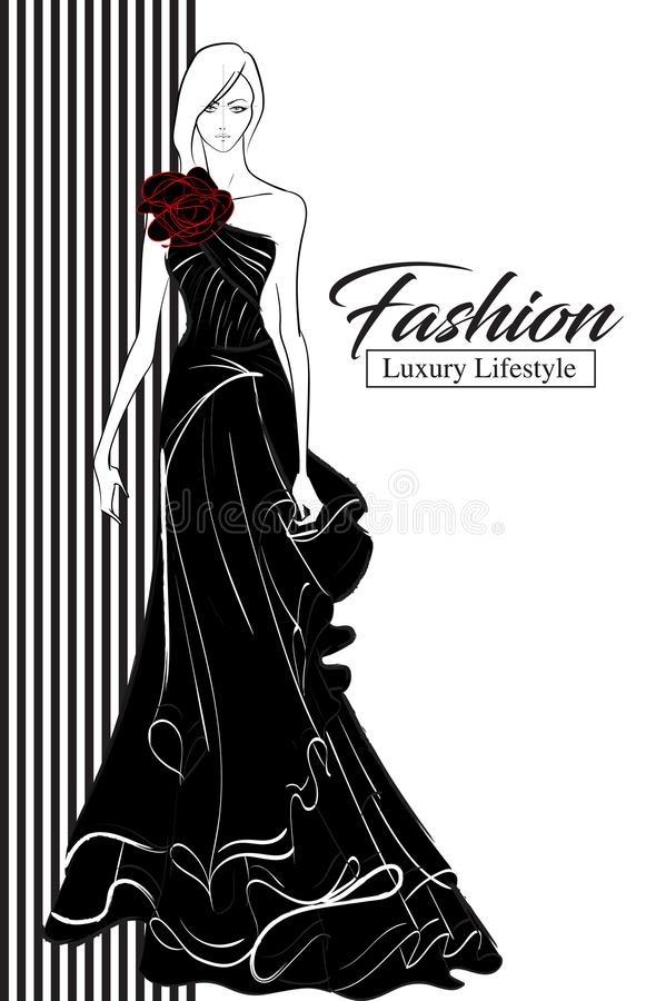 时尚豪华魅力端庄的妇女剪影 库存例证