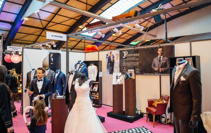 时尚趋向在Salon du婚姻公平的法国的Marriage 库存图片