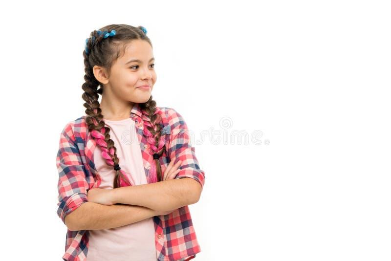 时尚趋向 儿童女孩五颜六色的辫子时兴的发型白色 少年时尚概念 图库摄影