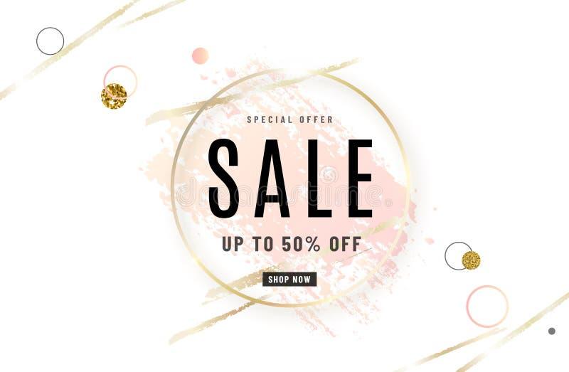 时尚销售横幅与金圈子框架,水彩的设计背景淡粉红色刷子,特价文本,几何 向量例证