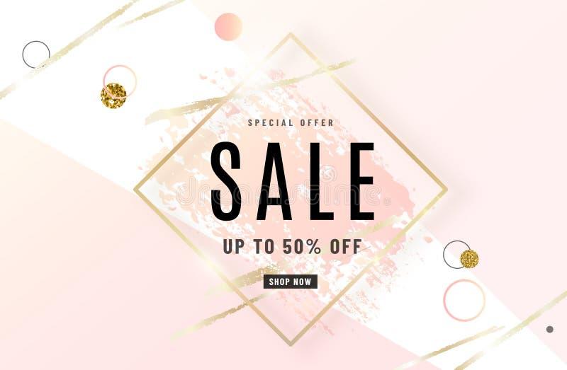 时尚销售横幅与金框架,水彩的设计背景淡粉红色刷子,特价文本,几何 皇族释放例证